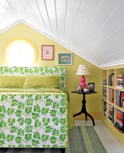 green and yellow bedroom via cl Inside a Renovated Schoolhouse