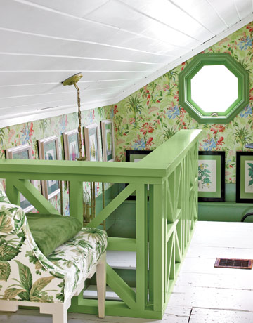 green railing wallpaper via cl Inside a Renovated Schoolhouse