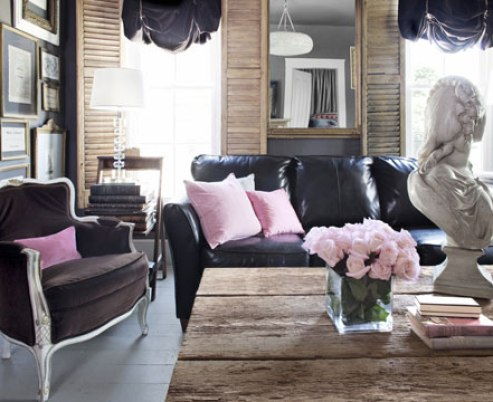 amhurst gray textured living room via cl Living In and Loving a Small Space