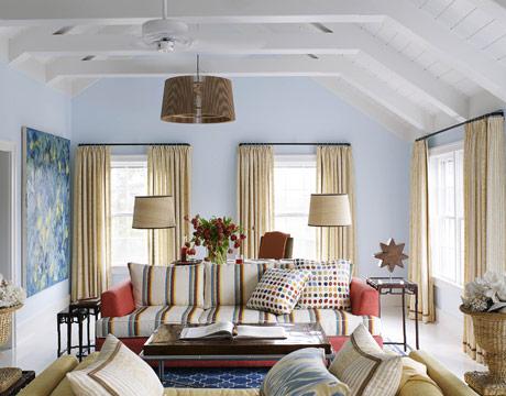 blue living room via hb How Light Affects Paint Colors