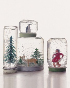 snow globes via martha stewart Make Your Own Snow Globes