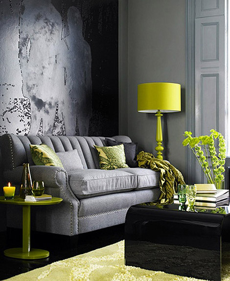 gray and yellow via colorsizzle How to Brighten Your Day with Pops of Yellow