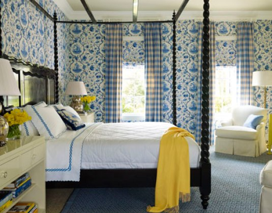 mendelson blue bedroom yellow via hb How to Brighten Your Day with Pops of Yellow