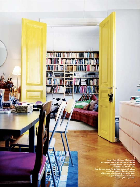 yellow doors via the painted room How to Brighten Your Day with Pops of Yellow