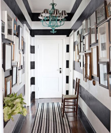 black and white striped hall via cl Funky Family Home   Hit or Miss?