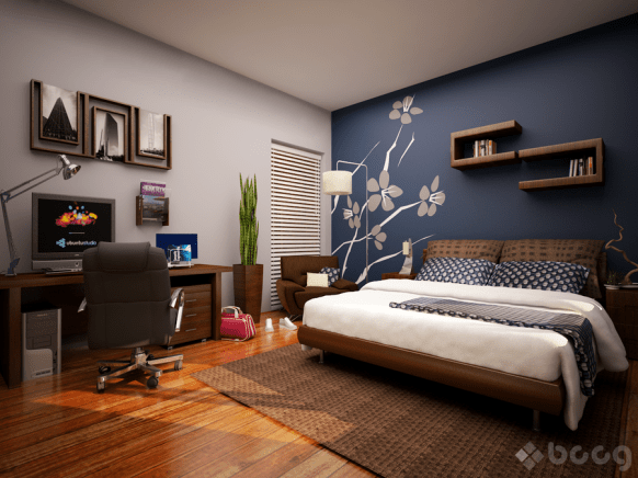 blue accent wall bedroom via homedesigners us Please Do It Right, or Dont Do It At All   The Accent Wall