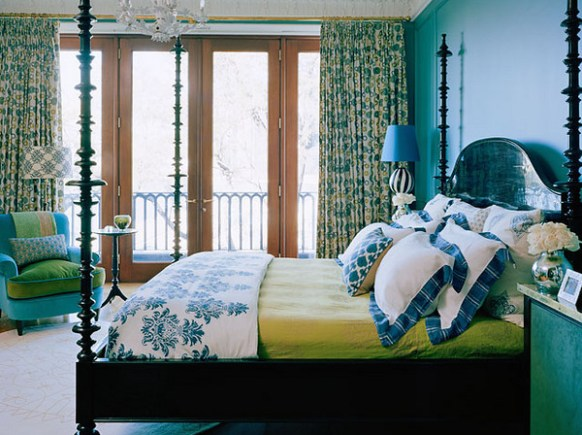 blue and green bedroom via house of turquoise Obsessed with Blue & Green