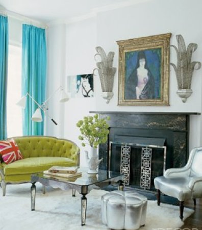 blue and green room by jonathan adler via elle decor Obsessed with Blue & Green