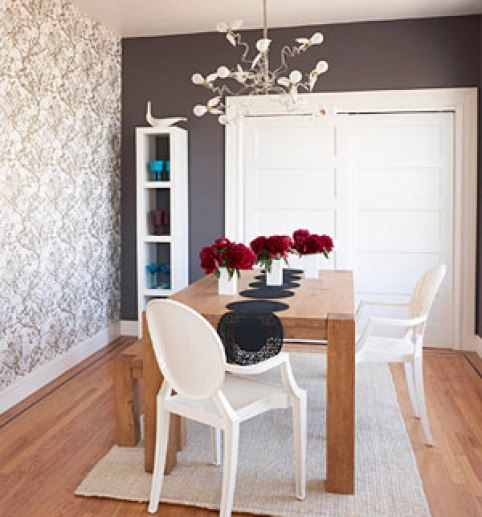 gray wallpaper accent wall via bhg Please Do It Right, or Dont Do It At All   The Accent Wall