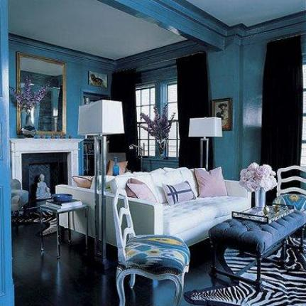 laquered blue room via decorpad So, Will You Do Inky Blue?