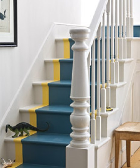 painted stair runner via marthastewart Take A Chance On Your Stairs