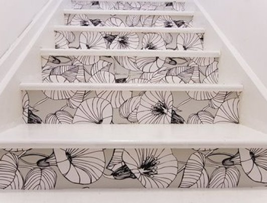 wallpaper stairs via charlotteannette blogspot Take A Chance On Your Stairs