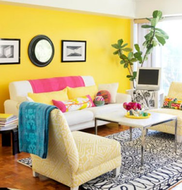 yellow accent wall via bhg Please Do It Right, or Dont Do It At All   The Accent Wall