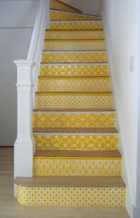 yellow pattern stairs via livelikeyou Take A Chance On Your Stairs