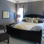 gray and yellow bedroom by The Decorologist