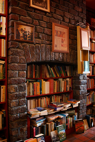 books in fireplace from a Lark bookshop via Joni V Bs photostream flickr This Isnt A Book Burning   Its Artistic Display!