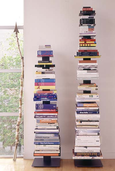 book tower array cb2 via apartment therapy When The Books are Stacked in Your Favor