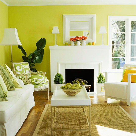 yellow green living room via bhg An Explicit Discussion About Lighting by The Decorologist