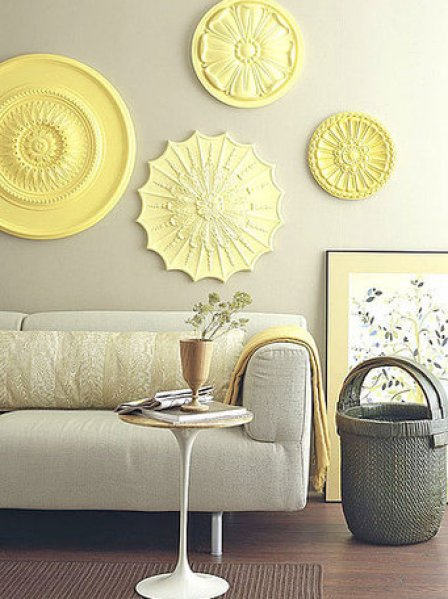 tin medallions wall decor via edecorativeceilingtiles Add a Little Something to Your Ceiling