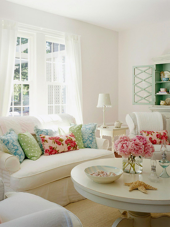 white shabby chic living room via bhg The Truth About Men & Decorating