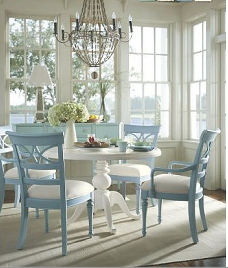 white and blue dining room via cottagechicstore Transformed by Color