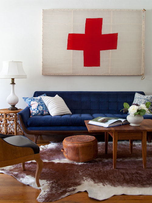blue sofa living room via takingnotes squarespace Why The Decorologist Says No to the Sofa & Loveseat Combo