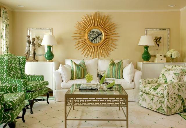 green living room via thevividedge Why The Decorologist Says No to the Sofa & Loveseat Combo