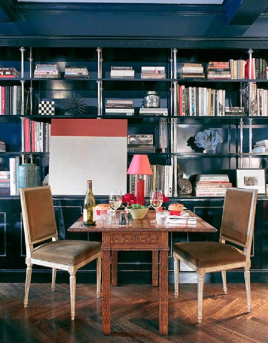 blue dining library via nest interiordesign Nashville Interior Decorator Weighs In:  Whats Out in Design Trends