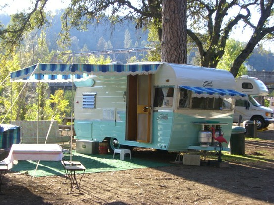 vintage blue trailer via vintagetrailercamp Pipe Dreams, Airstreams, and Pinterest