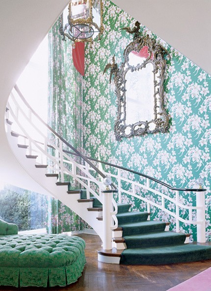 green staircase Emerald City   Why Im Crushing on Dark Greens