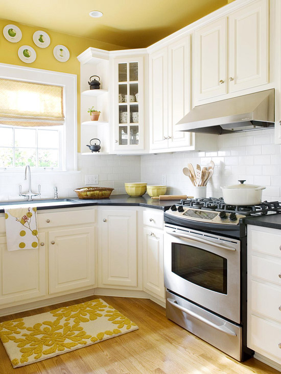 yellow kitchen via bhg Paint This Ceiling or No? Nashville Color Consultant Offers Recommendation