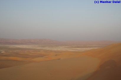 View from the top of the first dune mountain - note my car's shadow to the right.