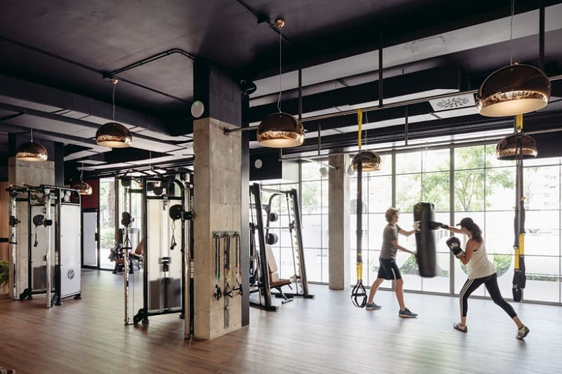 Wall Shelf Creatively Designed Fitness Center In Madrid