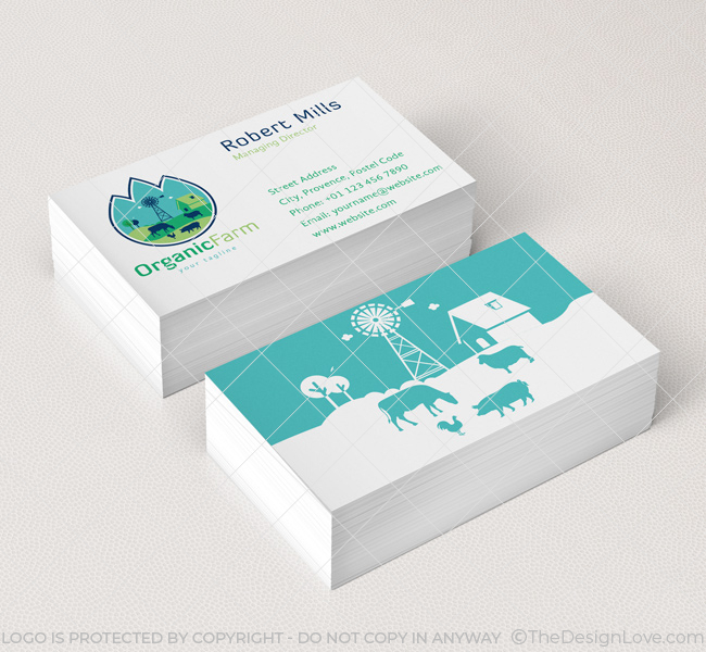 Organic Farm Logo  Business Card Template - The Design Love - Buisness Card Template