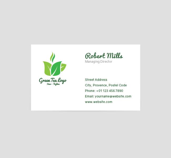 Green Tea Logo  Business Card Template - The Design Love