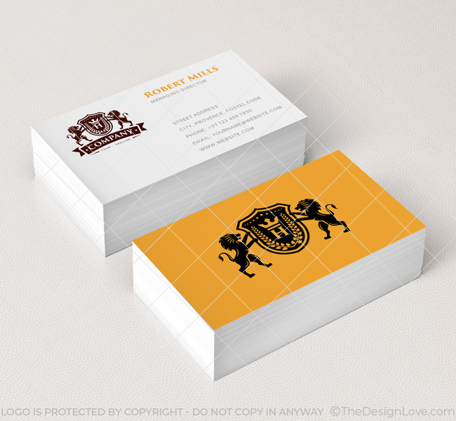 Lion Crest with Crown Logo  Business Card Template - The Design Love