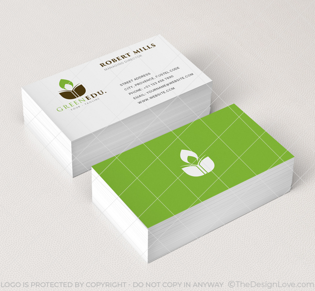 Green Education Logo  Business Card Template - The Design Love