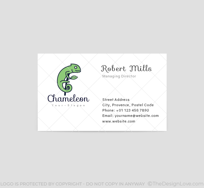 Simple Chameleon Logo  Business Card Template - The Design Love