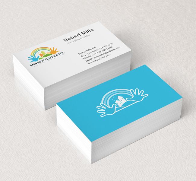Rainbow Play School Logo  Business Card Template - The Design Love