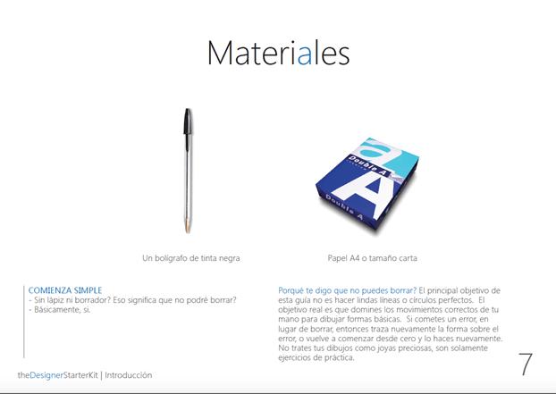 the Designer Starter Kit eBook Materiales in Spanish