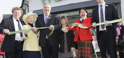 Ribbon cutting photo from L2R: Councillor Richard Younger-Ross, Town Mayor June Green, Waitrose opening branch manager, Chris Reynard, Partner Joanne Gill, Anne Marie Morris MP, and Waitrose department manager, Ryan Whittaker