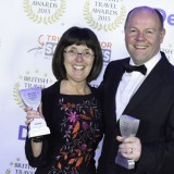 Awards - Mike Bevens group commerical director and Christiane Barker general manager holidays Brittany Ferries