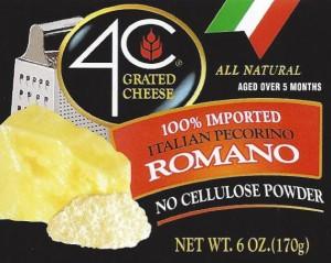 4C-Käse-Label - 4C und Cento erinnern, geriebenen Käse