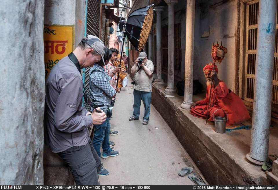 Piet, (foreground) and Rene with the camera and the SMDV Speedbox Professional 70cm and a Cactus RF60 in the alleyway of Varanasi, India.