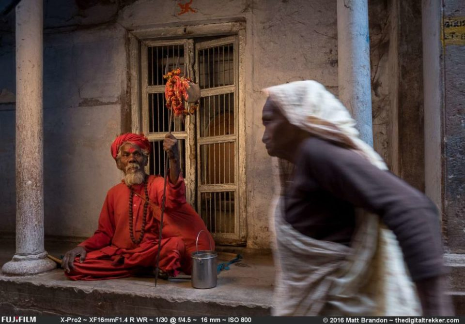 A sadhu watches a lady pass by as we photograph him with the X-Pro2.