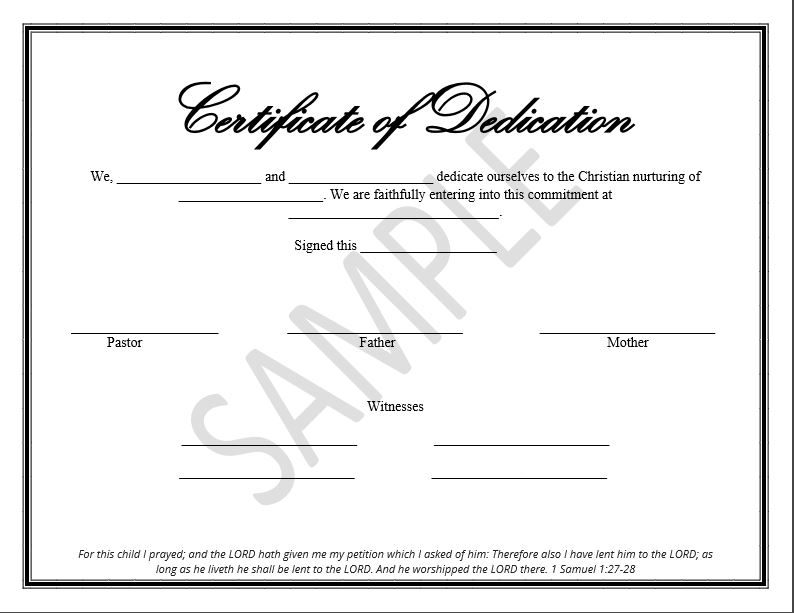 Printable Child Dedication Certificate Templates - The Disciplers