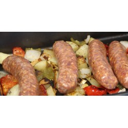 Small Crop Of Sausage And Peppers In Oven