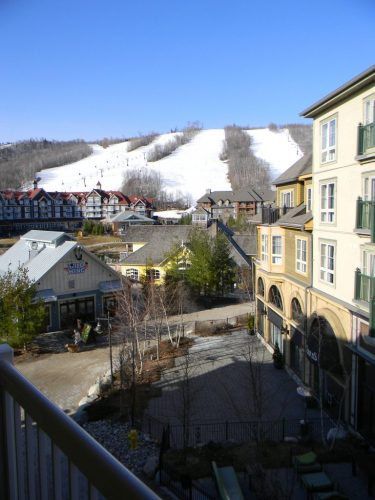 the view of the mountain and the Village streets from our chalet.
