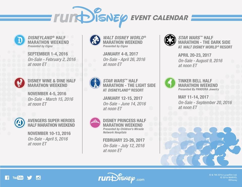 Event Calendar 2016 : Rundisney  event calendar is here the disney