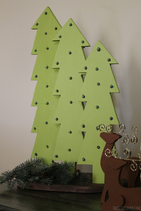 Set of wooden christmas trees with lights aka marquee christmas trees